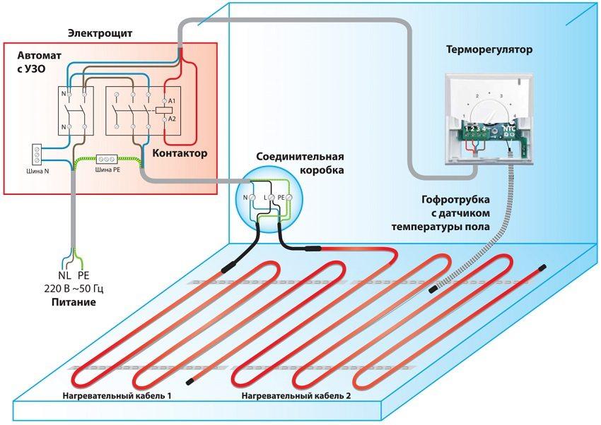 """Схема подключения терморегулятора с датчиком в систему отопления """"теплый пол"""""""