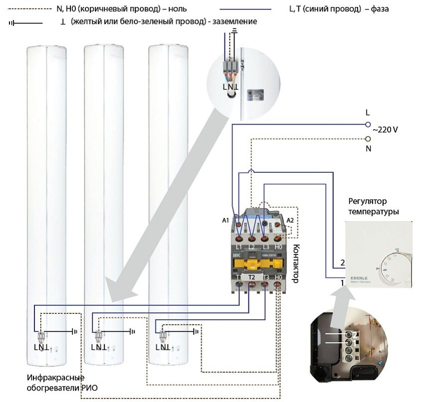 Схема подключения инфракрасных обогревателей к терморегулятору