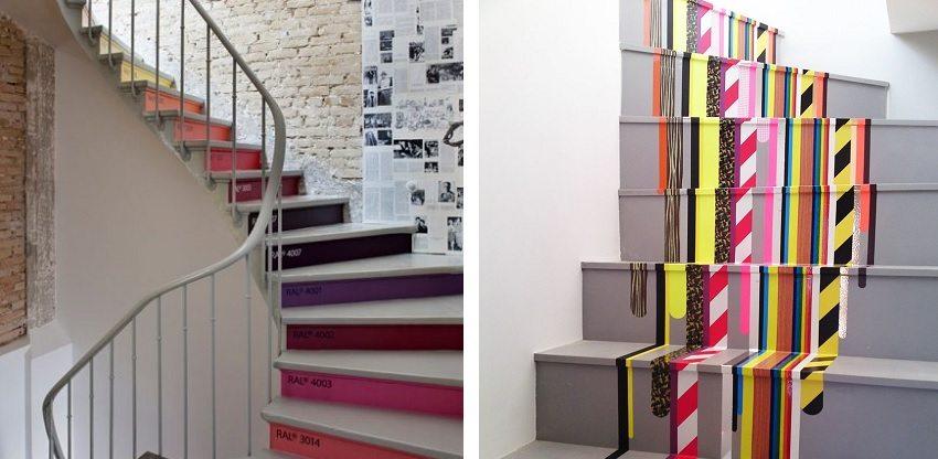 Ступени винтовой лестницы можно оформить яркими красками