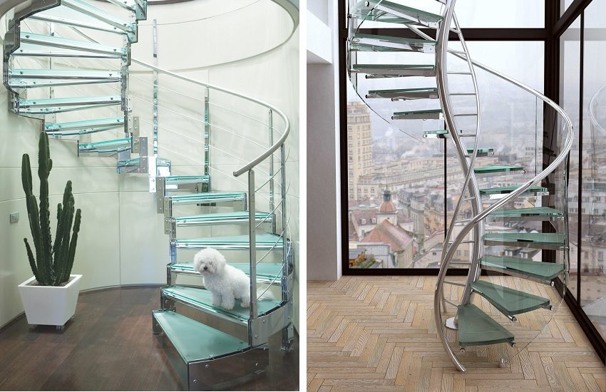 Винтовые лестницы из стекла и нержавеющей стали выглядят легкими и воздушными