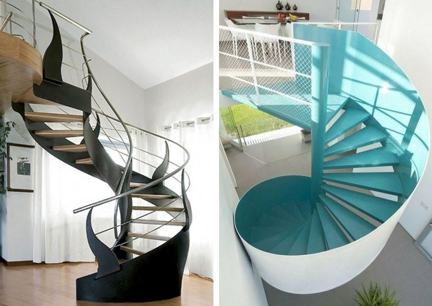 Современные винтовые лестницы могут быть самых разнообразных форм и цветов