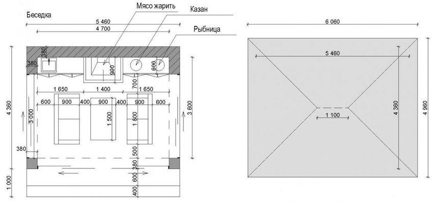 Схема конструкции беседки с мангалом