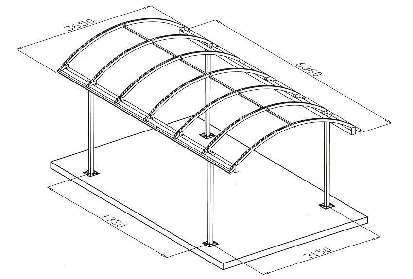 Чертеж беседки из поликарбоната с крышей арочной формы