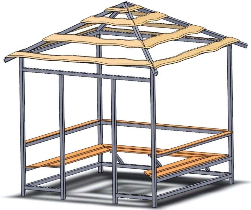 Проект квадратной беседки из металлической трубы с деревянными лавочками