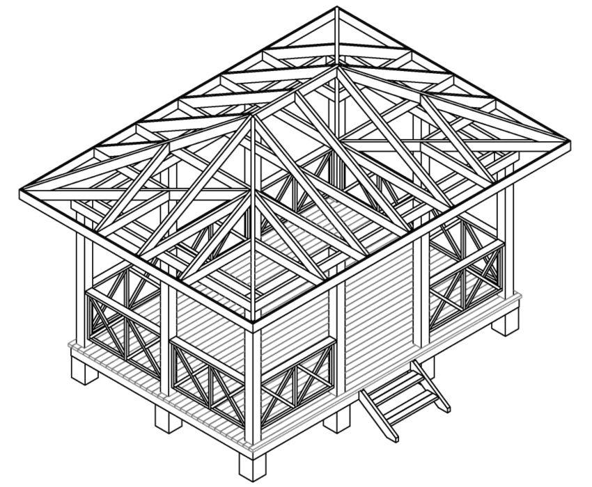 Проект прямоугольной деревянной беседки с ограждением и лестницей