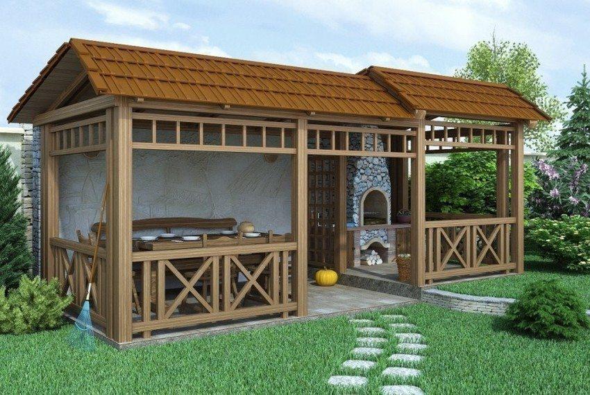 3D-проект возведения деревянной беседки с дровяной печью
