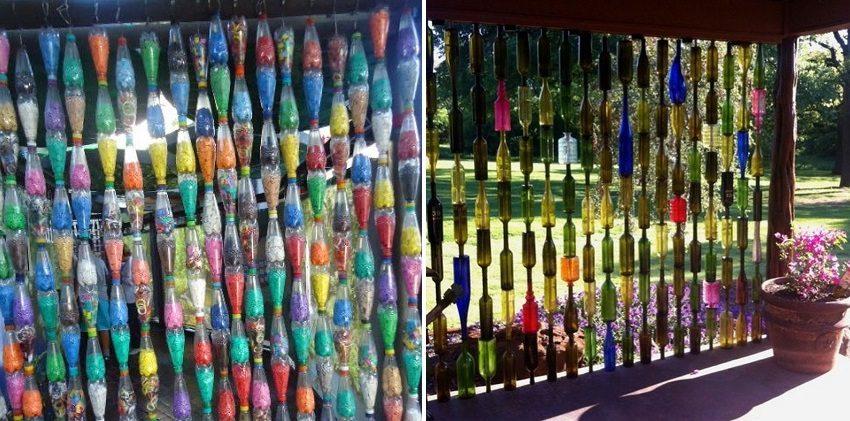 Бутылки для беседки можно декорировать и красить в яркие цвета