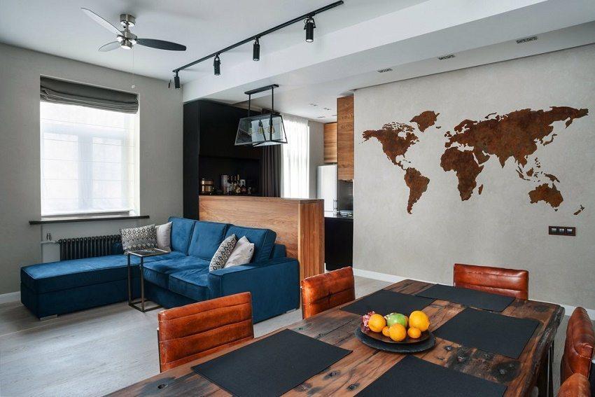 Аскетичный интерьер в кухне-гостиной