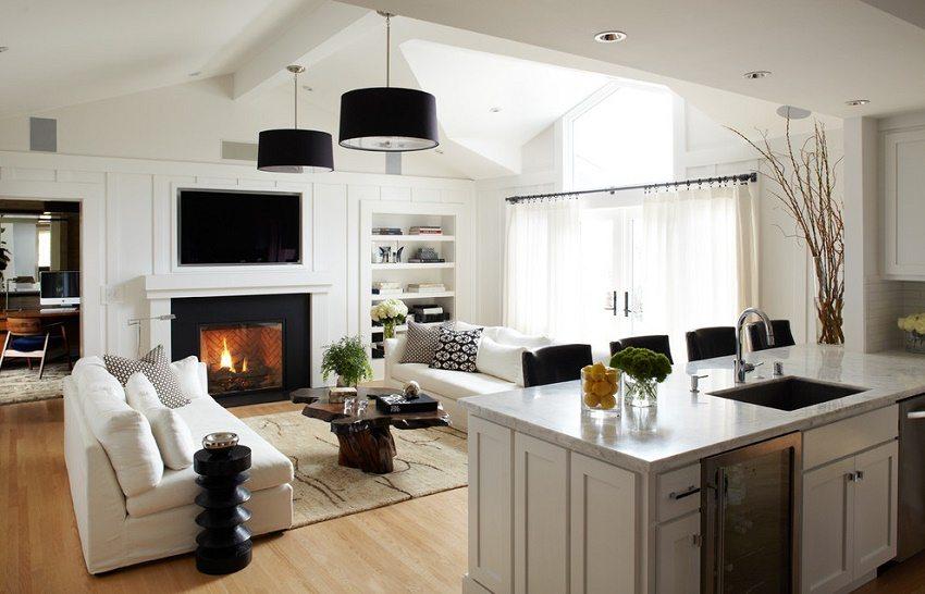 Кухня-гостиная с удачным расположением зоны отдыха
