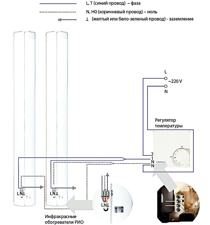 Схема подключения к термостату двух инфракрасных обогревателей