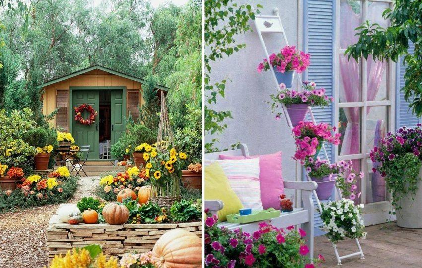 Примеры яркого декора садовых сооружений