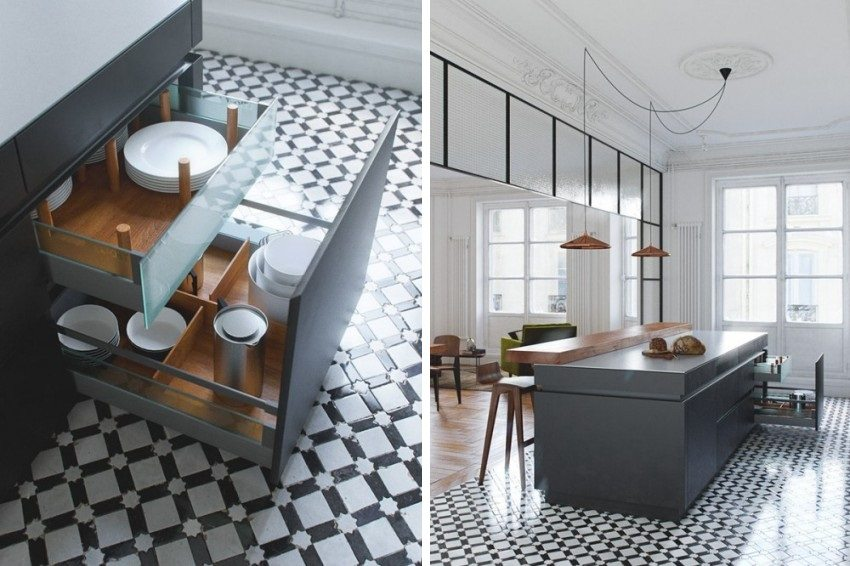 Диагональная укладка плитки на полу современной кухни