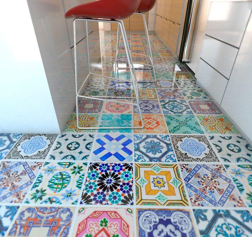 Пол кухни облицован разноцветной квадратной плиткой