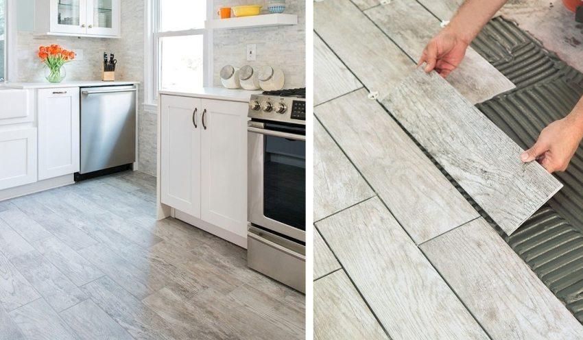 Укладка керамической плитки с имитацией деревянной поверхности