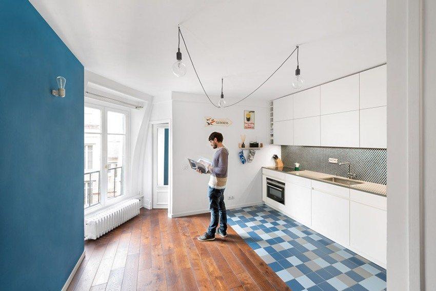 Комбинирование ламината и кафеля при отделке пола на кухне