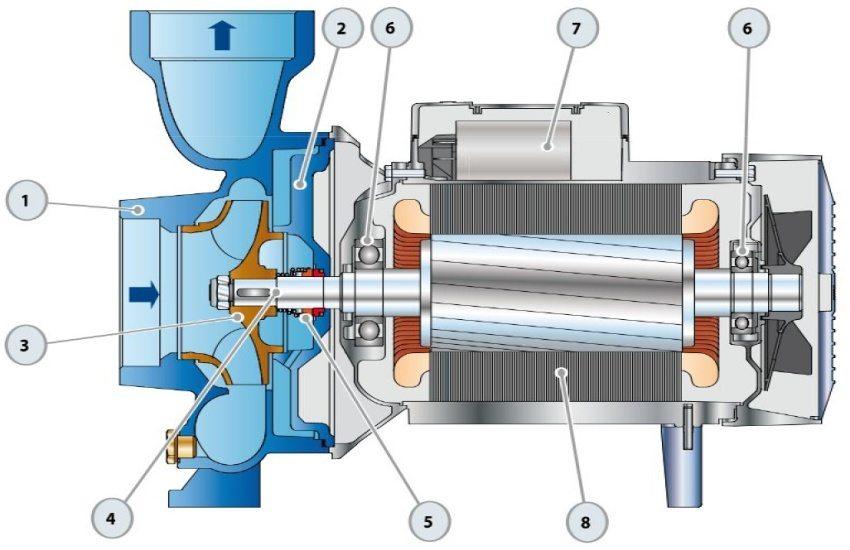 Строение поверхностного одноступенчатого насоса: 1 - корпус, 2 - крышка, 3 - рабочее колесо, 4 - ведущий вал, 5 - механическое уплотнение, 6 - подшипники, 7 - конденсатор, 8 - электродвигатель