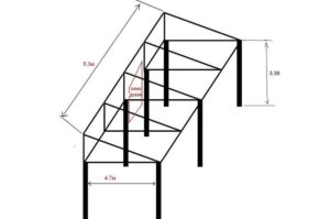 Чертеж каркаса для навеса с односкатной крышей
