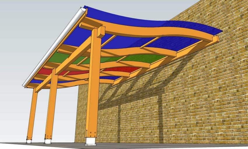 Проект деревянного каркаса для навеса с волнообразной крышей