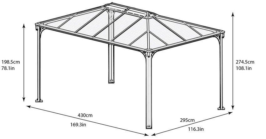 Чертеж навеса с крышей из поликарбоната