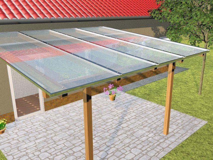 3D-проект навеса с крышей из поликарбоната