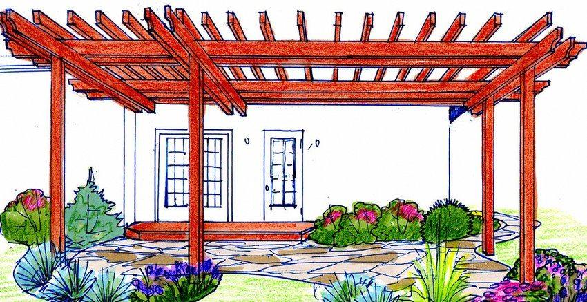 Проект навеса, пристроенного к стене загородного дома