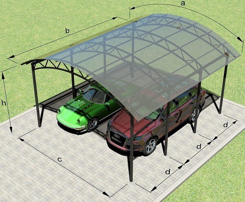 Схема устройства навеса для автомобилей из профильной трубы и поликарбоната