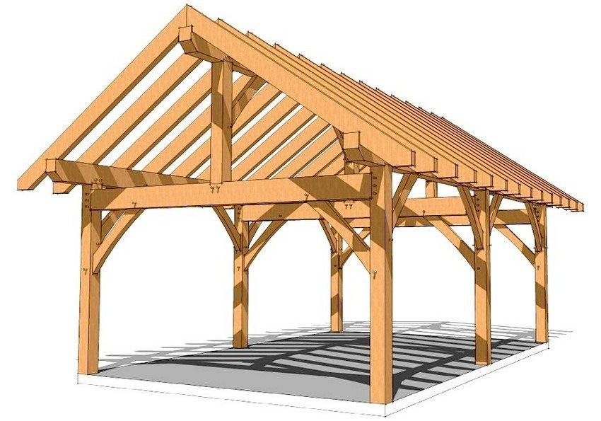 Проект каркаса из дерева для навеса с двускатной крышей