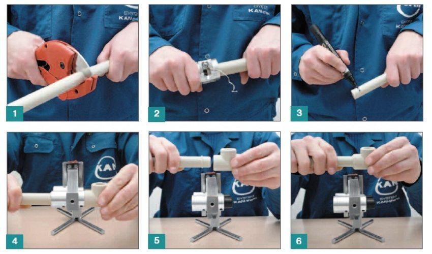 Шаги соединения полипропиленовых труб с помощью паяльника