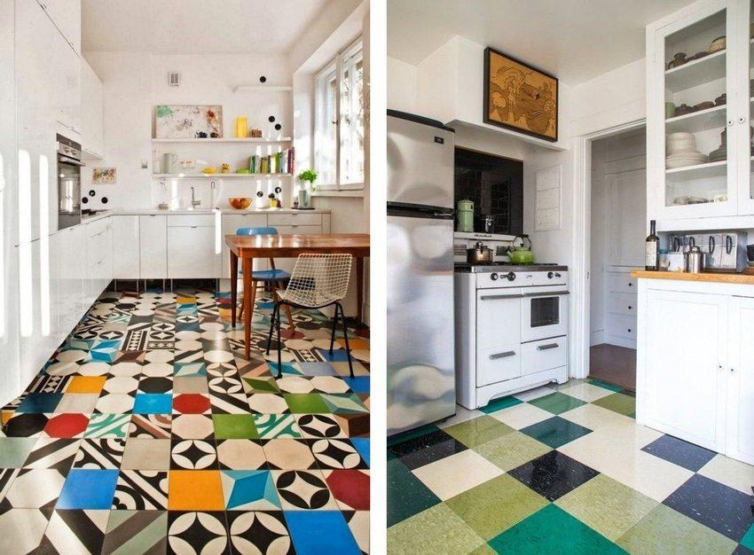 Различные варианты использования разноцветной напольной плитки в дизайне кухни
