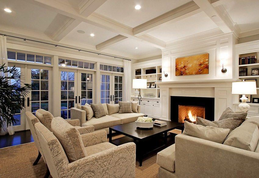 Гипсокартон позволяет организовать в гостиной любой тип освещения