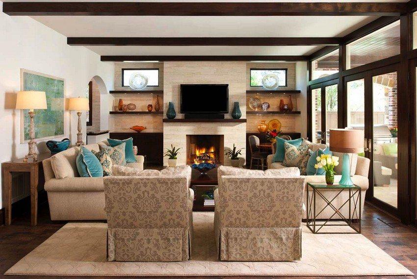 Навесной потолок в гостиной оформлен с помощью гипсокартонных листов