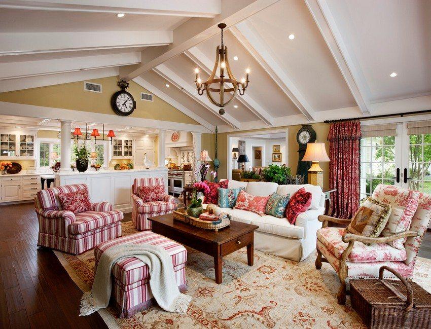 Гипсокартон является универсальным материалом и идеально подходит для оформления потолка в гостиной
