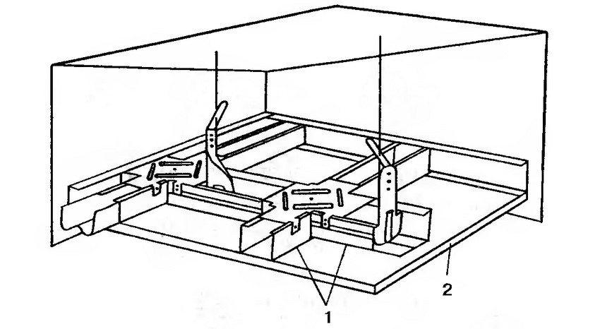 Подвесной потолок на одноуровневом металлическом каркасе: 1 - одноуровневый каркас; 2 - гипсокартонный лист