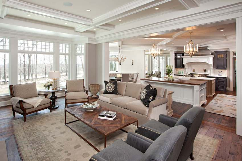 Гипсокартонный потолок идеально вписывается в общий дизайн помещения