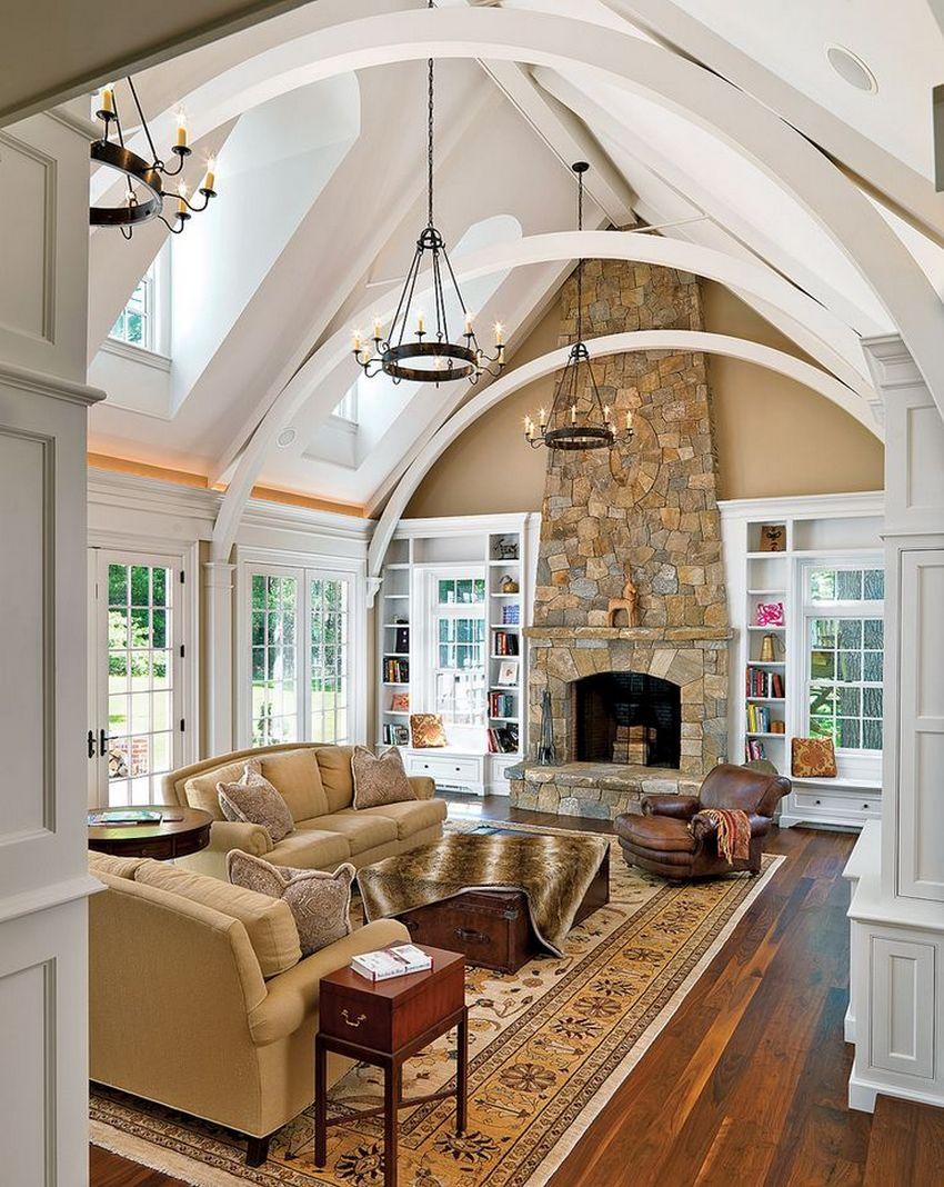 Сложная конструкция потолка создана с помощью листов гипсокартона