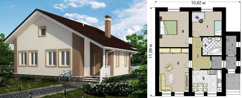 Проект каркасного дома площадью 82 кв.м: 1 - тамбур, 2 - котельная, 3 - коридор, 4 - санузел, 5 - кухня, 6 - гостиная, 7 и 8 - спальня