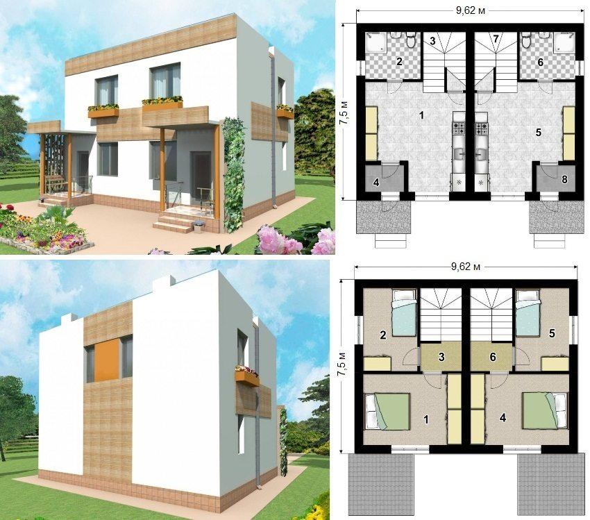Проект двухэтажного каркасного дома на 2 квартиры площадью 103 кв.м. Первый этаж: 1 и 5 - кухня-столовая, 2 и 6 - санузел, 3 и 7 - лестница, 4 и 8 - тамбур. Второй этаж: 1, 2, 4 и 5 - спальня, 3 и 6 - коридор