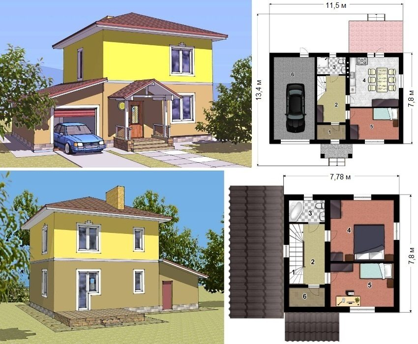 Проект двухэтажного каркасного дома с гаражом площадью 112 кв.м. Первый этаж: 1 - тамбур, 2 - прихожая, 3 - санузел, 4 - кухня-столовая, 5 - спальня, 6 -гараж. Второй этаж: 1 - лестница, 2 - коридор, 3 - санузел, 4 и 5 - спальня, 6 - гардероб