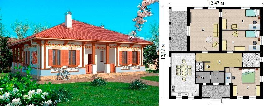 Проект каркасного дома площадью 122 кв.м: 1 - тамбур, 2 - прихожая, 3 - кухня, 4 - гостиная, 5, 6 и 7 - спальня, 8 - ванная, 9 - санузел, 10 - гардероб, 11 - котельная