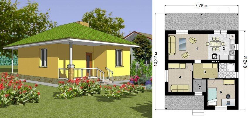 Проект каркасного дома площадью 49,3 кв.м: 1 - гостиная, 2 - кухня, 3 - прихожая, 4 - спальня, 5 - санузел, 6 - спальня, 7 - тамбур