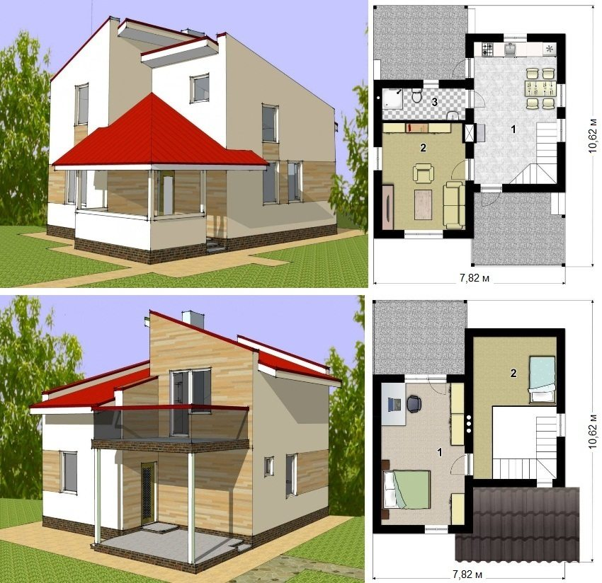 Проект двухэтажного каркасного дома площадью 67 кв.м. Первый этаж: 1 - кухня-столовая, 2 - гостиная, 3 - санузел. Мансарда: 1 и 2 - спальня
