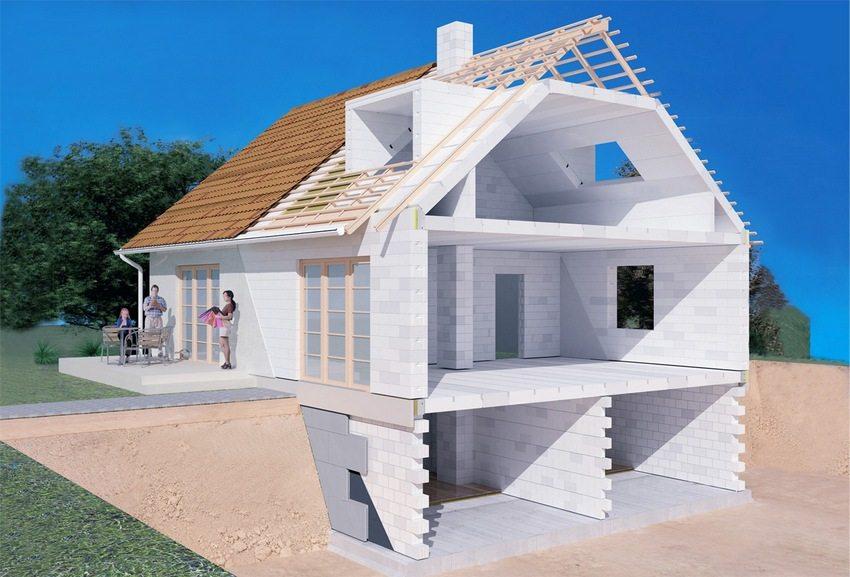 3D-проект дома из пенобетонных блоков