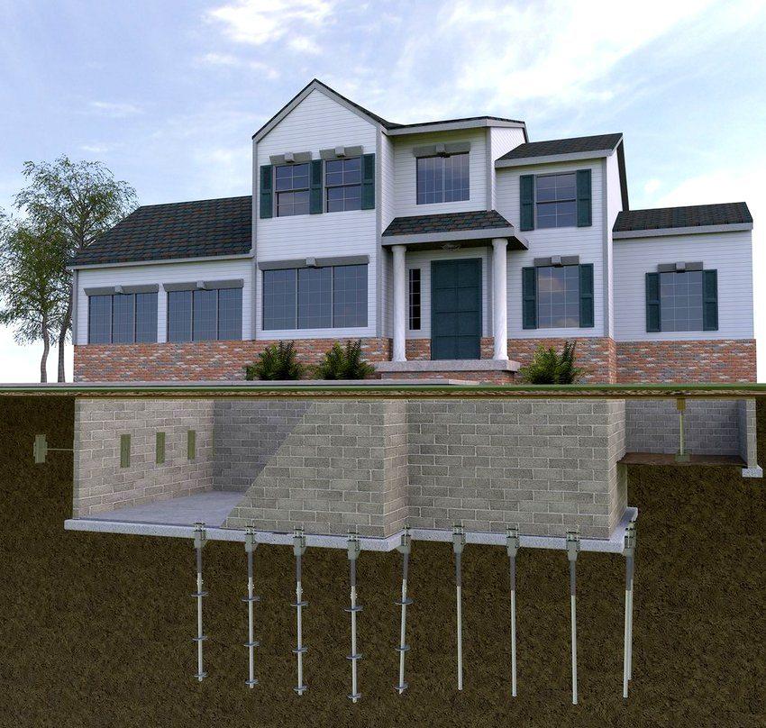 3D-проект частного дома со свайным фундаментом