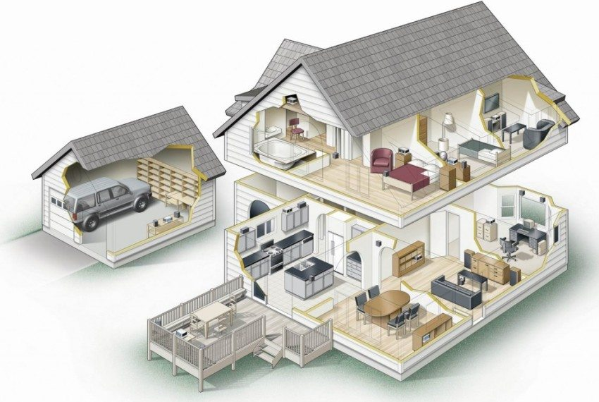 3D-проект дома с мансардой, небольшой террасой и отдельно стоящим гаражом