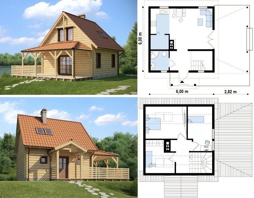 Проект дома с тремя спальнями в мансардном помещении, 6х6 м