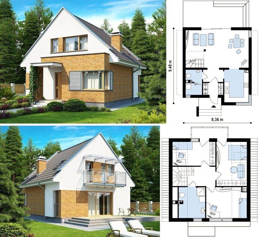 Проект кирпичного дома 9,48х8,36 м с мансардой, тремя спальнями и камином на первом этаже