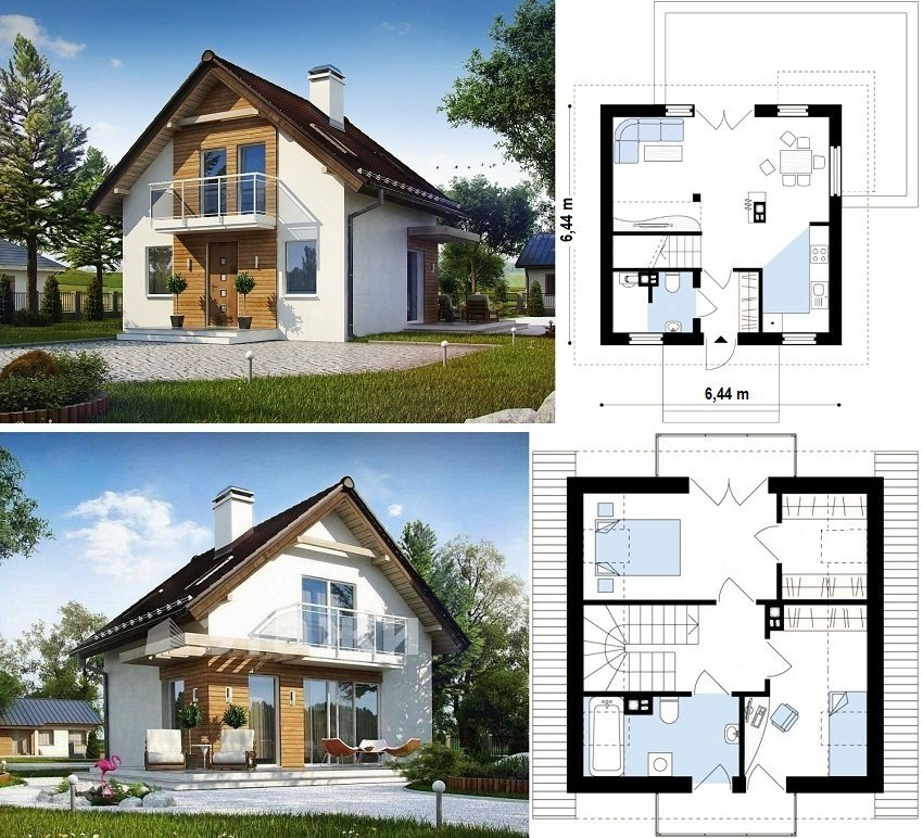 Проект дома с мансардой 6,44х6,44 м с двумя спальнями и гардеробной