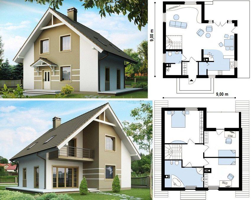 Проект дома с мансардой 9х9 м с камином и тремя спальнями