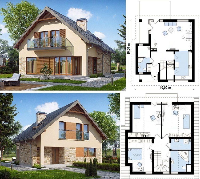 Проект дома 10х10 м с мансардой, тремя спальнями и балконом