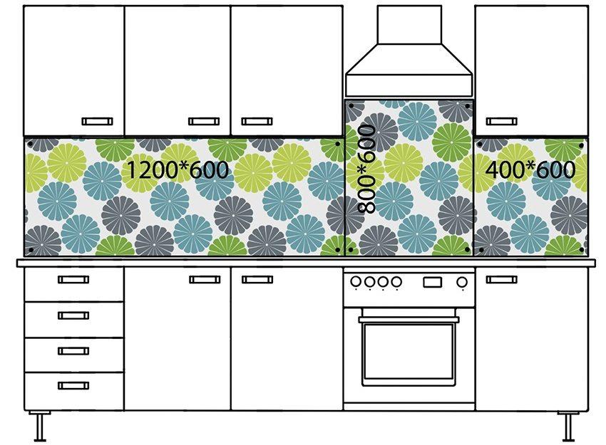 Схема размещения нескольких стеклянных панелелей на рабочей стене кухни